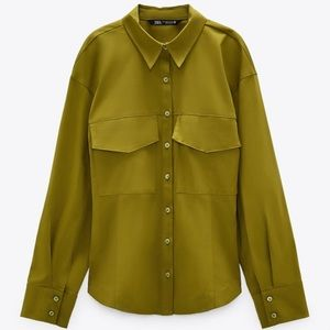 NEW Zara Khaki Fitted Button Up Shirt with Pockets